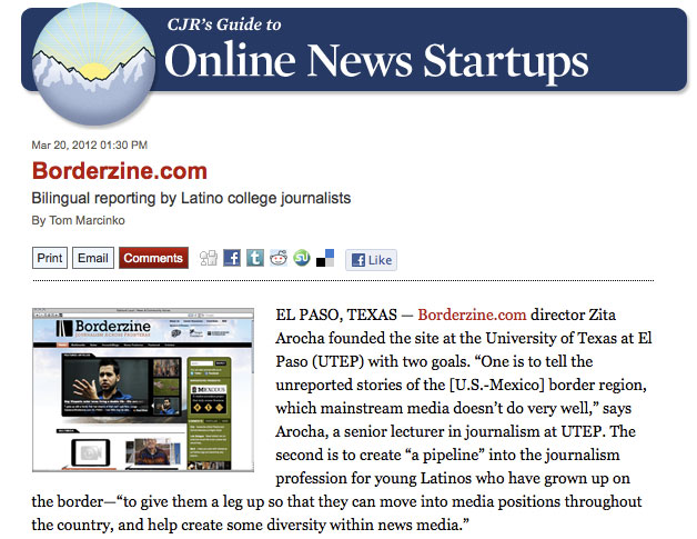 Borderzine featured in Columbia Journalism Review.