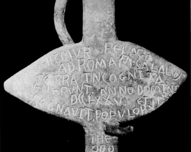 Engraved on the cross found in the Arizona desert c.1922 is the tale that after landing on the coast of the Gulf of Mexico, the Romans marched northwest until they arrived at a desert area near present day Tucson. (Photo from the Desert Magazine, December 1980.)