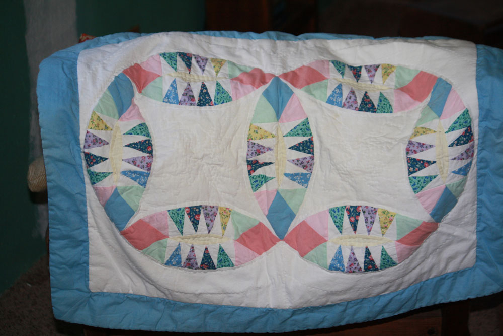 40-cent hand-quilted pillow sham, purchased on Tuesday. (Cheryl Howard/Borderzine.com)