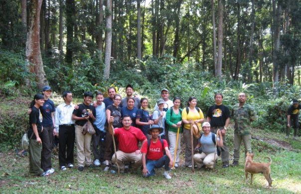 Dr. Stacey Sowards (second from left), with UTEP students and forest rangers at Gunung Walat Forest, Indonesia in 2009. (Courtesy of Stacey Sowards)