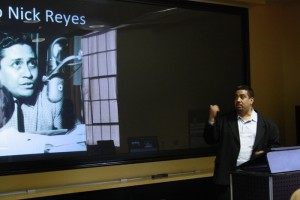 Joseph Torres, Latino journalist and author of News for all the People visits UTEP on April 17 to educate students about the history of ethnic media. (Danya P. Hernandez/Borderzine.com)