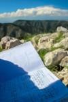 My name on the summit register. (Ezra Rodriguez/Borderzine.com)