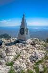 Stainless Steel pyramid marking the summit. (Ezra Rodriguez/Borderzine.com)