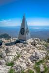 Stainless Steel pyramid marking the summit. (Ezra Rodriguez/Borderzine.com)