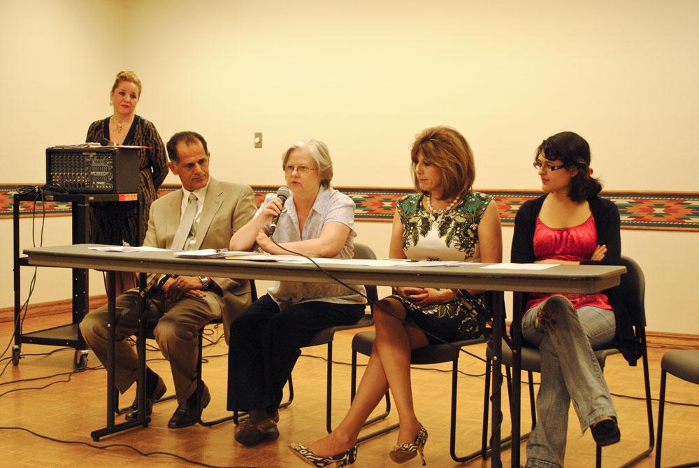 Faculity of the Baha'i Association along with student member, Mona Heydarian (right). (Cassandra Morrill/Borderzine.com)