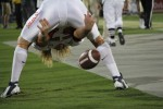 Matt Camilli snapping the ball to Ian Campbell (punter). (Stephanie Solis/Borderzine.com)