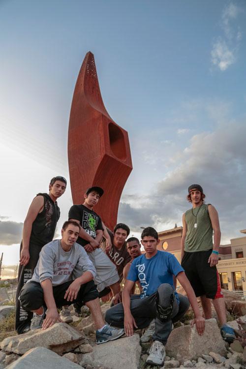 From Left to Right: Pedro Guerrero, Angel Flores, Jesse Zuniga, Rafael Acosta, Alek Villarreal, Robert Frescas, Joey Roe. Members of Parkour El Paso. (Ezra Rodriguez/Borderzine.com)