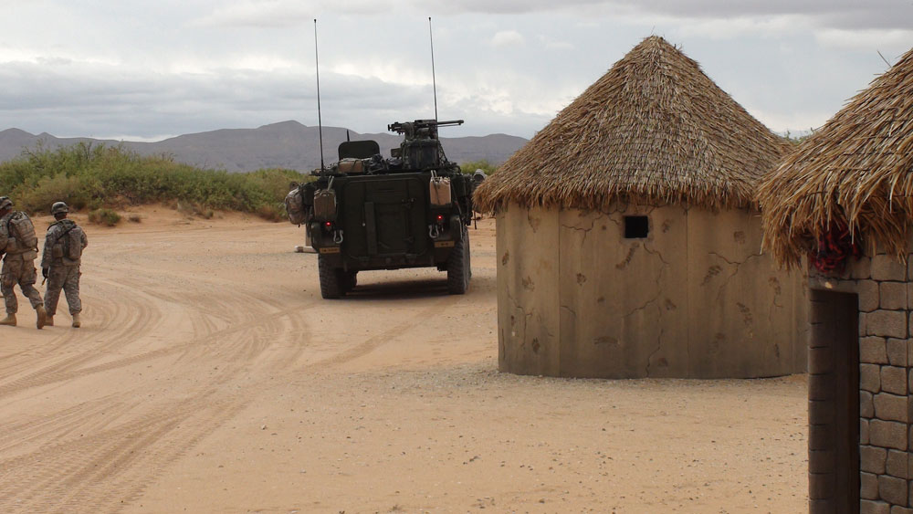 A photo of the Afghan village recreated for the military training exercise. (Ken Hudnall/Borderzine.com)