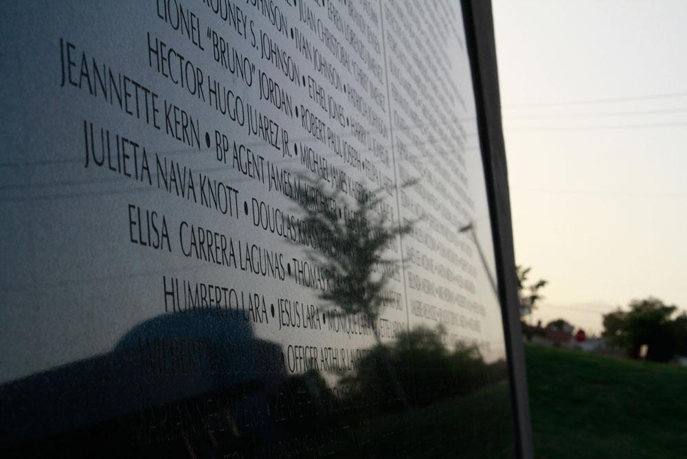 Crime Victims' Memorial of El Paso Texas at 610 Yarbrough Dr., registers 1,511 names of victims. (Danya Hernandez/Borderzine.com)