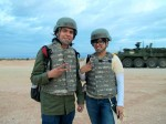 "UTEP journalism students, Kristian and Danya Hernandez, participate in the ""Iron Focus"" tactical military training exercise at Fort Bliss.(Alejandra Matos/Borderzine.com)"