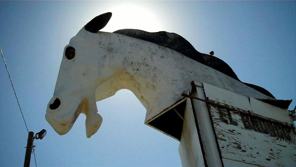A giant white bronco head marks the entrance into the Bronco Swap Meet. (Amanda Duran/Borderzine.com)