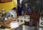 Kitchen cleaned and waiting for the next project. Oops, I see a few stray skins I missed. (Cheryl Howard/Borderzine.com)