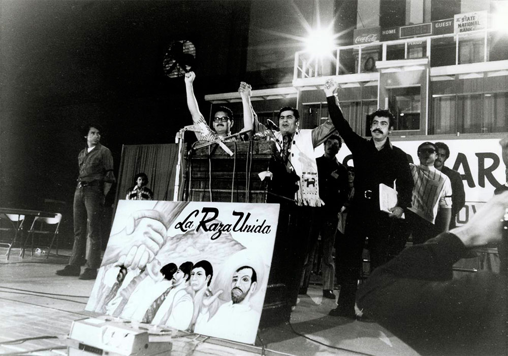 José Ángel Gutiérrez, Reies López Tijerina and Rosie Castro at the national convention of La Raza Unida in 1972. (Courtesy of Dennis Bixler- Marquez)