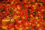 Roasted cherry and pear tomatoes, with basil and olive oil. (Cheryl Howard/Borderzine.com)