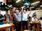 Reies Lopez Tijerina and José Ángel Gutiérrez at Mercado Mayapán celebrate 40 years of La Raza Unida. (Courtesy of Dennis Bixler- Marquez)