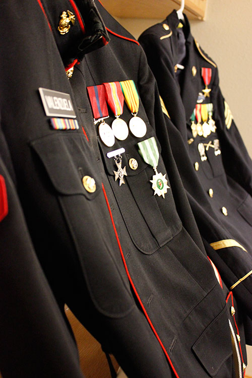 Army and Marine uniforms from the Valenzuela brothers. (Brenda Armendariz/Borderzine.com)