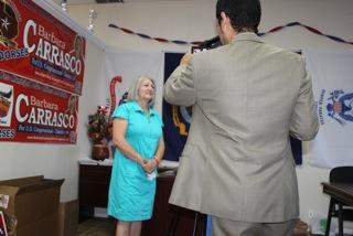 Newcomer Republican Barbara Carrasco talks to the press. (Francis Regalado/Borderzine.com)