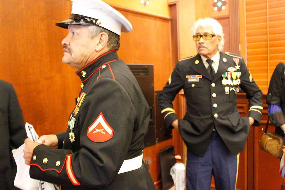 Manuel (left) and Valente Valenzuela wore their uniforms at a recent presentation at UTEP. (Brenda Armendariz/Borderzine,com)