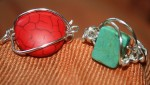 Wire wrap rings, red and turquoise. (Cheryl Howard/Borderzine.com)