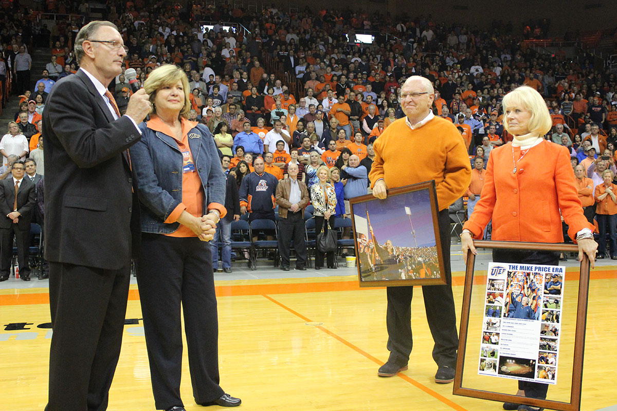 Bob Stull, UTEP's Athletics director, presents The Mike Price Era timeline at the Don Haskins Center. (Hector Escobedo/Borderzine.com)