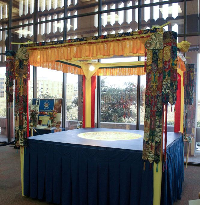 The Sand Mandala is being displayed at the Student Union Building East. (Luisana Duarte/Borderzine.com)