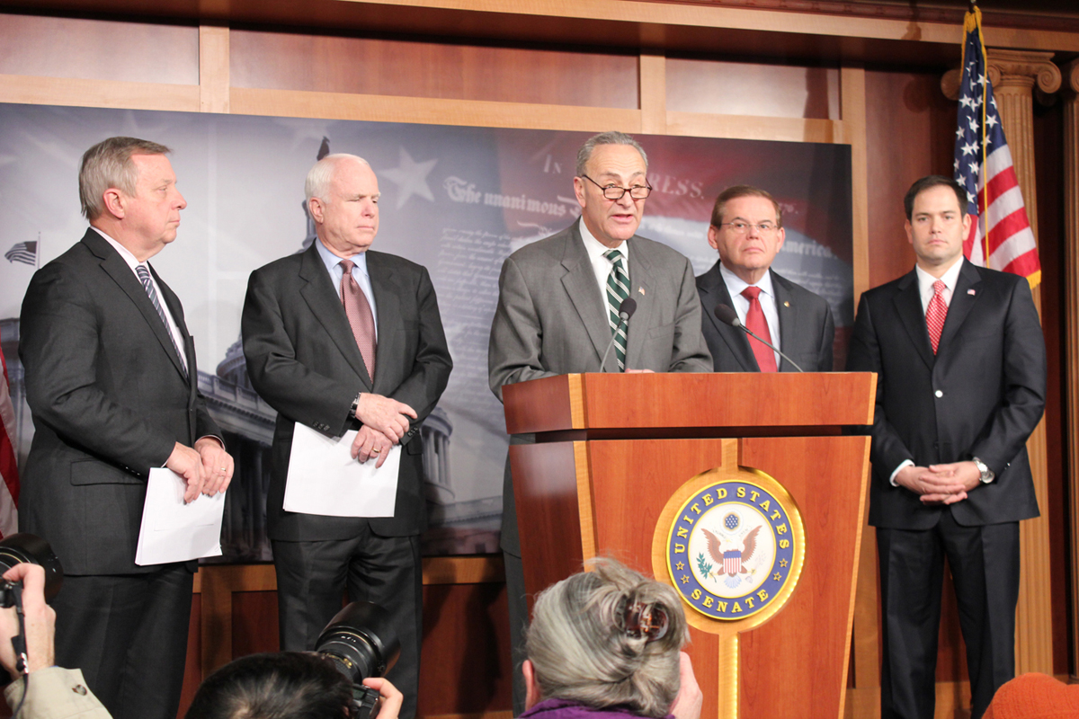 (Left to right) Senators Dick Durban, D-Ill., John McCain, R-Ariz., Charles Schumer, D-N.Y, Robert Menendez, D-N.J. and Marco Rubio, R-Fla., present comprehensive immigration reform blueprint at Monday news conference. (Jasmine Aguilera/SHFWire)