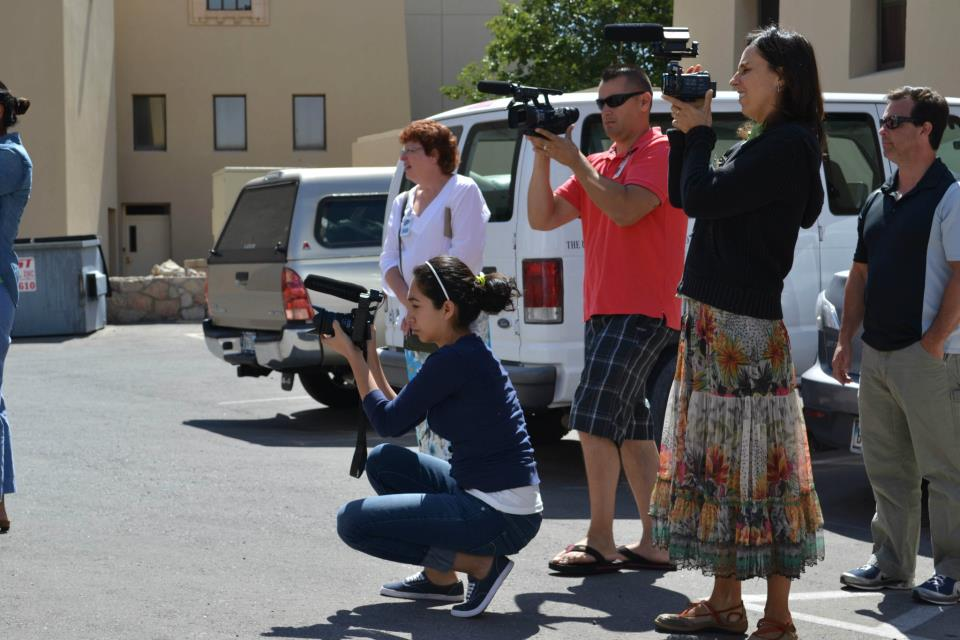 Participants of the 2012 Dow Jones Multimedia Training Academy at a video practice session. (©Borderzine.com)