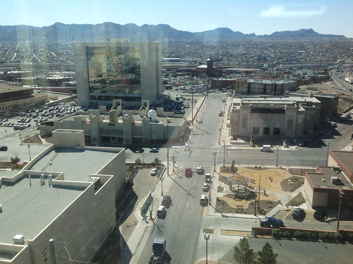An aerial view of the area to be demolish: City Hall (left) and Insights Museum (right). The Scottish Rite Temple, adjacent to the City Hall site, will not be affected. (Paul Reynoso/Borderzine.com)