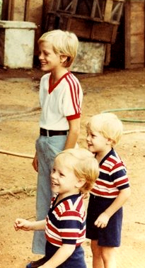 David Jacobson, foreground, his twin, Brian, in the center, and his older brother, Ben, in the background, at the zoo on the Ivory Coast, West Africa. (Courtesy of David Jacobson)