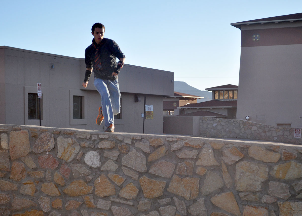 George Hinojosa practices Parkour because he believes it is useful in everyday life. (Alejandro Alba/Borderzine.com)
