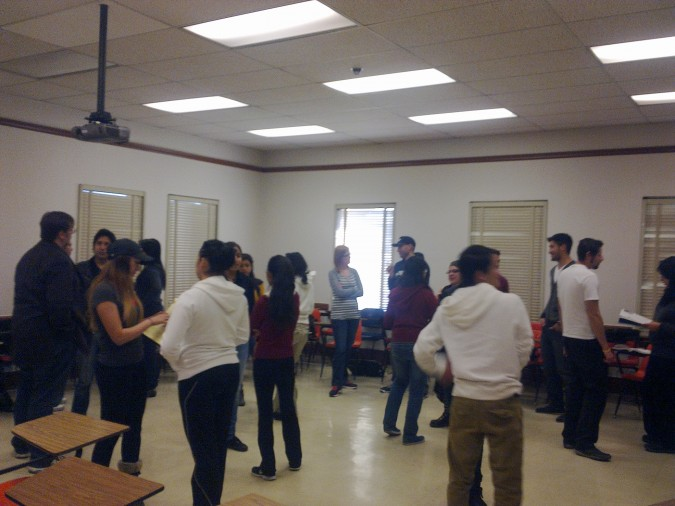 "Students participating in a Liberating Structure called ""Impromptu Networking"" in a Public Speaking class. (©Social Justice Initiative)"