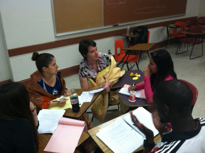 My Classmates and I engaged in a group conversation in Dr. Singhal's Class. (©Social Justice Initiative)