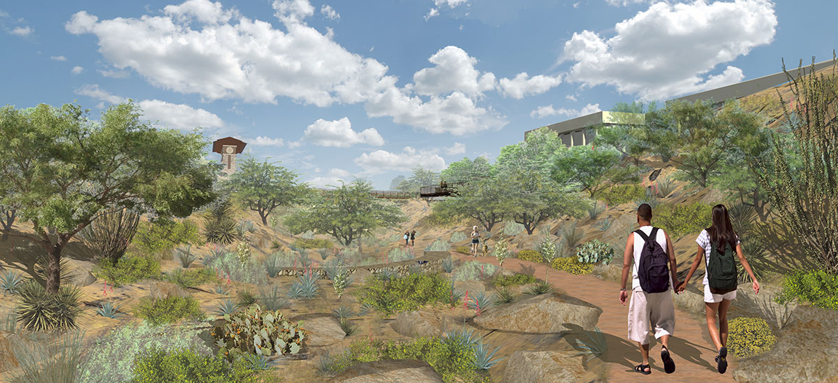 An artist's rendering that highlights UTEP's arroyo project that will help encourage outdoor activity on campus. (Paul Reynoso/Borderzine.com)