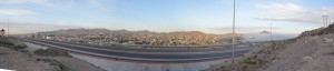 A panoramic picture shows Interstate 10 right after the smokestacks fall. The cloud of dust followed the same path. (Sarah Duenas/Borderzine.com)