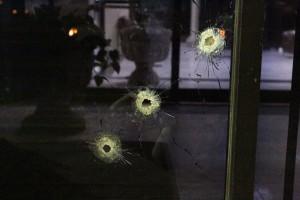 On March 6th a man fired seven 45-caliber rounds into the glass doors of El Diario in Ciudad Juárez. (Courtesy of El Diario de Juárez)