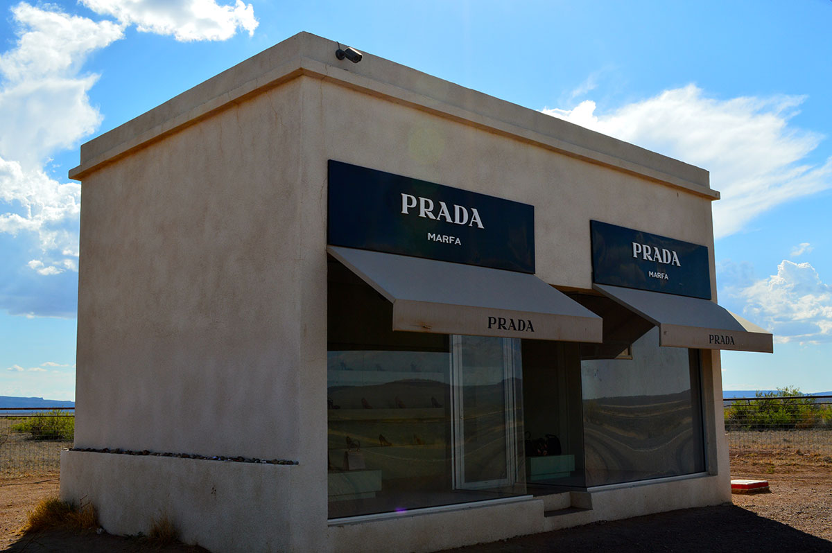 Prada Marfa, a permanently installed sculpture by artists Elmgreen and Dragset. (Amber Watts/Borderzine.com)