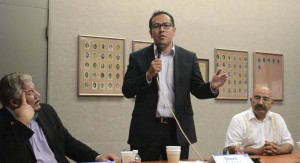 From left, candidates Dean Martinez, Steve Ortega and Jaime O. Perez at a recent mayoral forum hosted by the Greater El Paso Chamber of Commerce. (Michelle Blanks/Borderzine.com)
