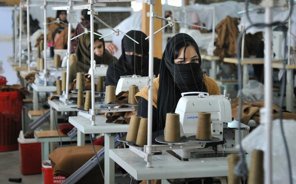 Afghan women work in sewing factories to make uniforms and blankets for their military. Afghanistan, 2011 (Photo Courtesy of Andrea Salazar)