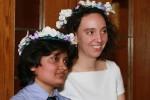 "Prerna Lal, 28, and Lindsay Schubiner, 28, a same-sex bi-national couple, participate in the ""first National DREAM wedding. (Luis Hernández/Borderzine.com)"