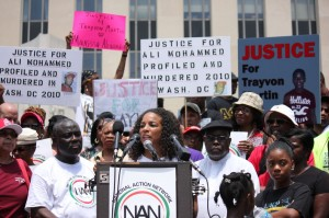 """Janaye Ingram, D.C. bureau chief of the National Action Network, speaks about the importance of voting Saturday as part of 100 vigils held around the country for Trayvon Martin. """"If we don't want this to happen again, we have to make sure that stand your ground is repealed and that nothing else similar is introduced,"""" she said. (Christine Scalora/SHFWire)"""