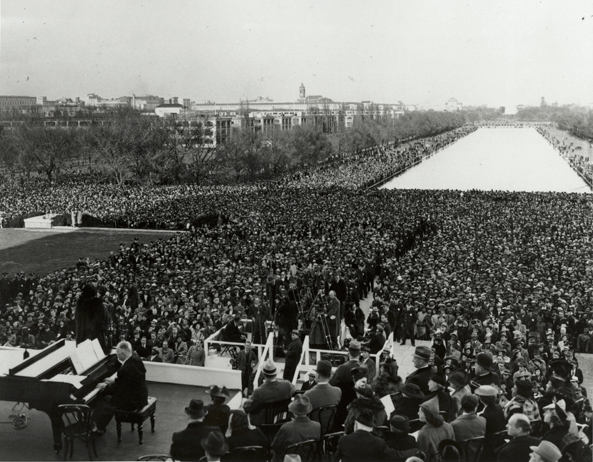 American contralto Marian Anderson performs in front of 75,000 spectators in Potomac Park.