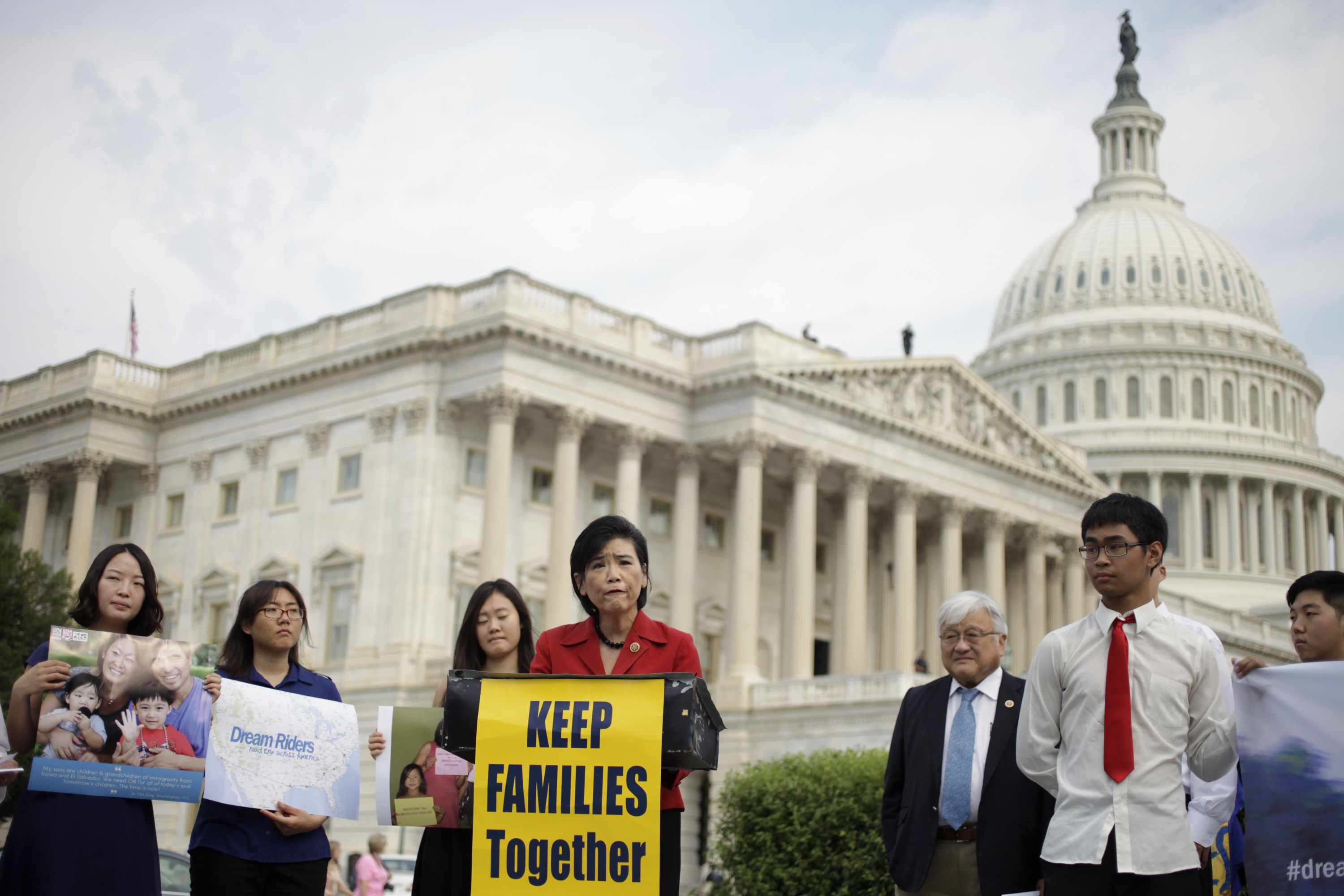 Judy Chu, D-Calif., speaks outside the Capitol Wednesday in support of immigration reform and the DREAM riders. The riders, a group of undocumented students will be visiting nine cities over 10 days to raise awareness about immigration reform. (Rob Denton/SHFWire)