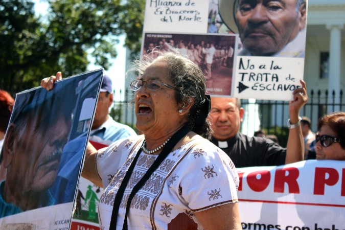 Rosa Martha Zárate Macías, coordinator of the group of activists and former migrant laborers, says Thursday the Mexican government withheld 10 percent of migrant laborer's earnings in savings accounts. The group ended their U.S. stay in front of the White House. (Andrés Rodriguez/SHFWire)