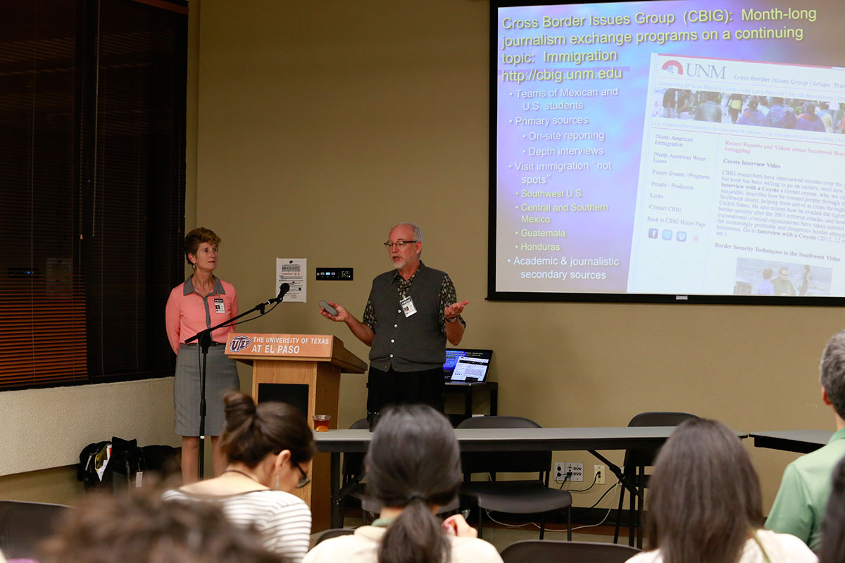 Dr. Carolyn Gonzalez and Dr. Richard Shaeffer from the Cross-Border Issues Group at the University of New Mexico presented their research work to the participants of the McCormick Special Reporting Institute on Immigration. (Aaron Montes/Borderzine.com)