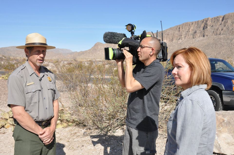 Border reporters, Angela Kocherga and Hugo Perez, reporting from Boquillas, México. Kocherga was part of a panel of border journalists that shared their experiences covering immigration. (Courtesy of Angela Kocherga)