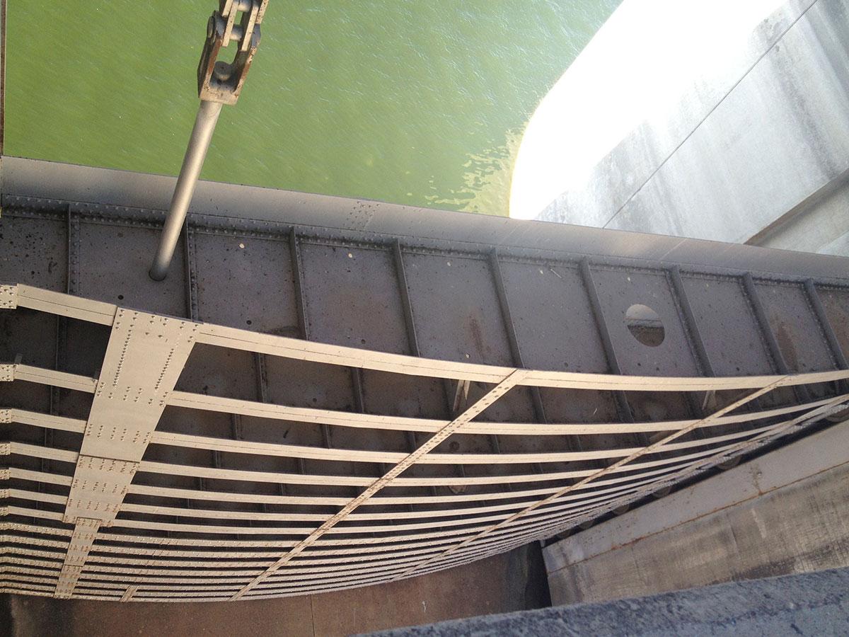 The water gates of Falcon Dam. (Sergio Chapa/Borderzine.com)