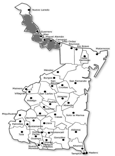 Mapa de la Frontera Chica.
