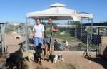 El Pasoan Iliana Guzman with her son Sergio Pedroza, 15, at their animal shelter in Chaparral, NM. (Velia Quiroz/Borderzine.com)