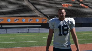 Defensive end #18, James Davidson, in his fifth year with the UTEP Miners. (Germad Reed/Borderzine.com)