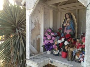 Outdoor shrine to Virgen de Guadalupe in Falcon Heights, Texas. (Sergio Chapa/Borderzine.com)